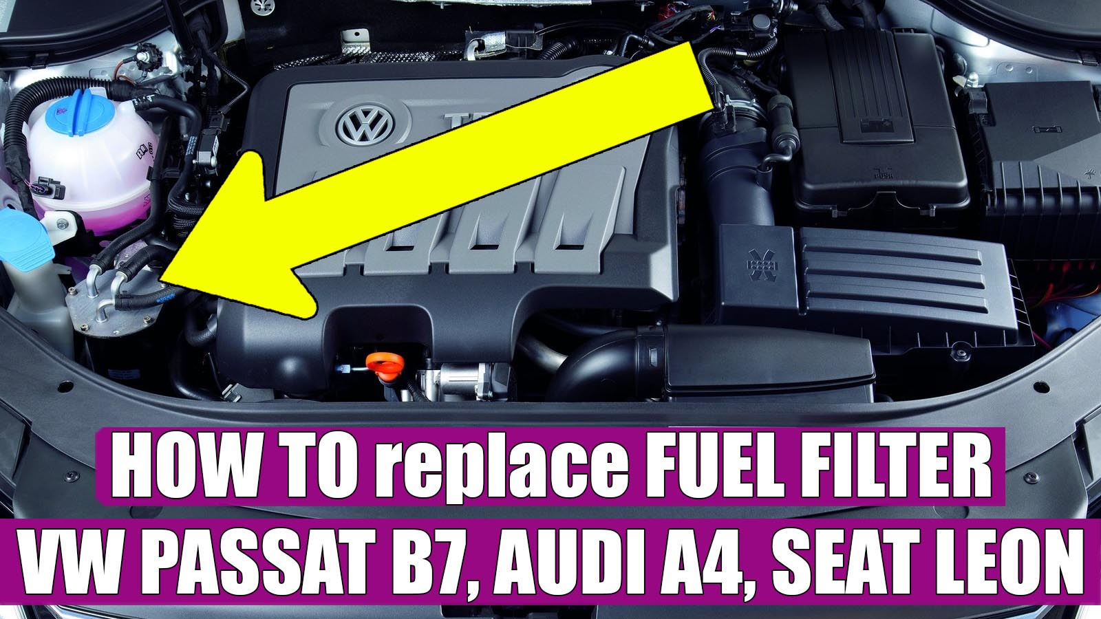 How to replace / change fuel filter VW Passat B7 TDI in 5 steps. VIDEOTutoriale din service