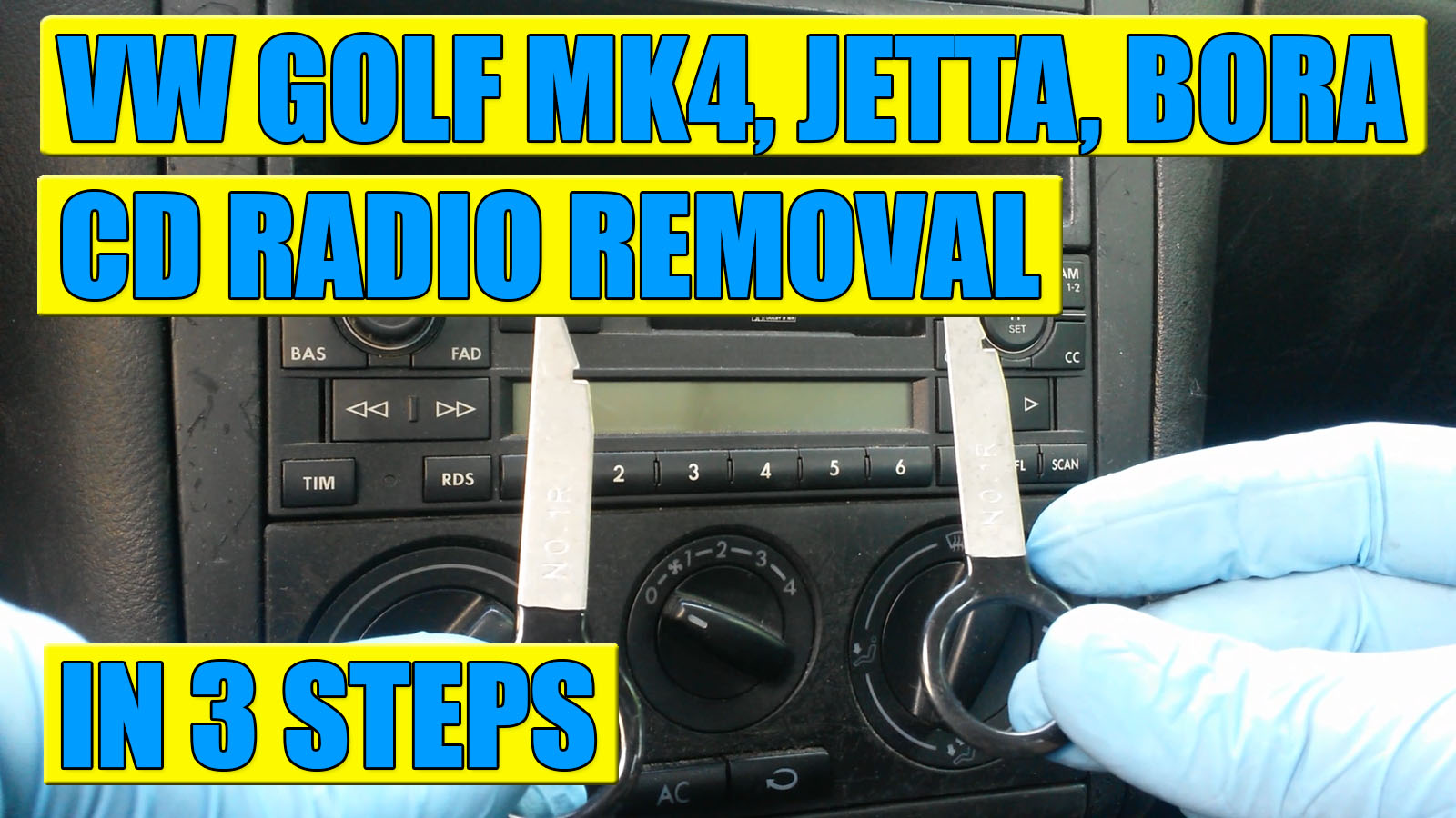 how to remove cd radio on vw golf mk4 jetta bora in 3. Black Bedroom Furniture Sets. Home Design Ideas