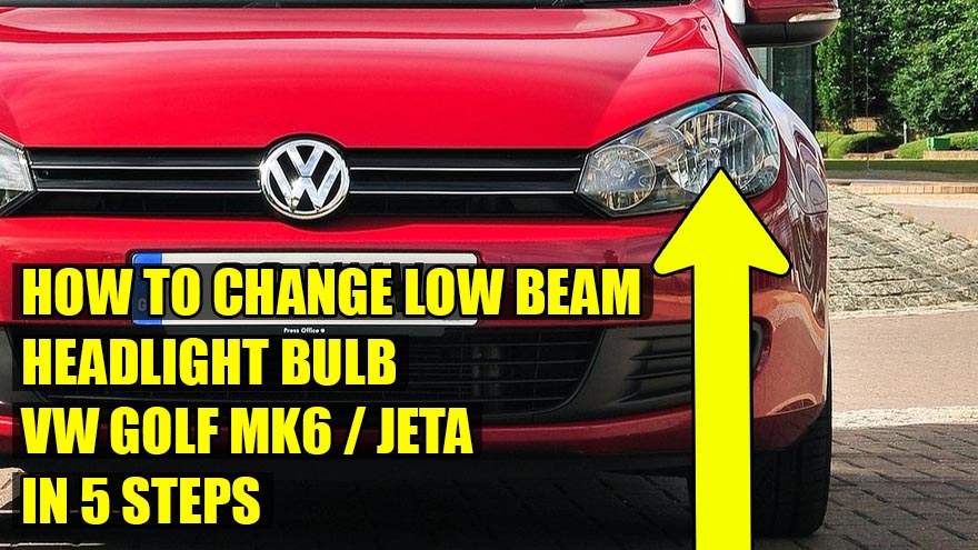 How to replace / change low beam headlight bulb on VW Golf